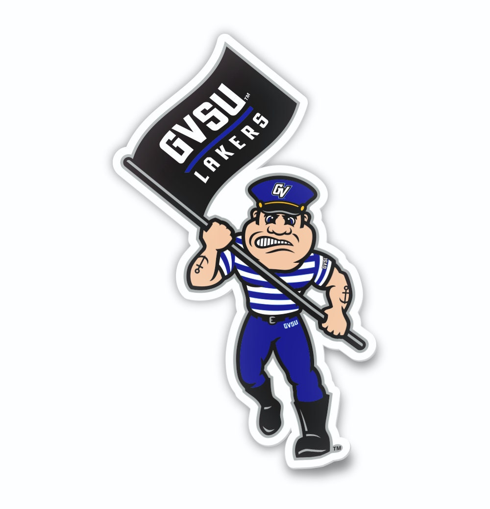 Grand Valley State University Lakers Running Louie the Laker Car Decal Laptop Sticker {FREE SHIPPING}