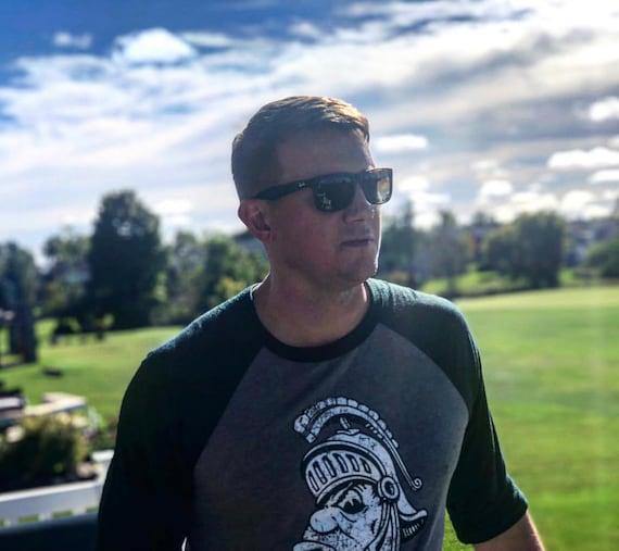 Michigan State Spartans MSU Gruff Old Mean Sparty Face Raglan 3//4 Sleeve Baseball Shirt