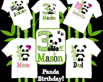cbc5cdd88 Family Matching Panda Birthday Party T-shirts Shirt Baby Bodysuit Mom Dad Baby  Kids Boy Girl Siblings Big Little Brother Sister