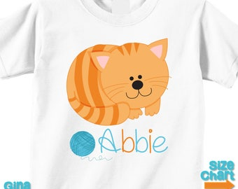 c00d3acdb74 Personalized Cute Cat Kitten in Orange and Blue Birthday Party Shirt T-shirt  Bodysuit Baby Kids Boy Girl Cute Cat KItten Shirt