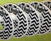5  Baby Closet Dividers Organizers - Baby Infant Boy Girl Christmas Stocking Stuffers - CD136 Modern Black White Chevrons Zig Zag