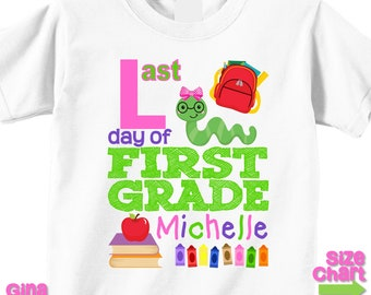 ... día de primer grado escuela camisa camiseta niña niño niños primer  grado escuela Tee último día de la graduación de la escuela equipo de  personalizada a7fdf1c48fdba