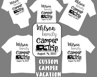 Custom Personalized Camper RV Family Vacation T Shirts Shirt Baby Bodysuit Mom Dad Kids Boy Girl Road Trip