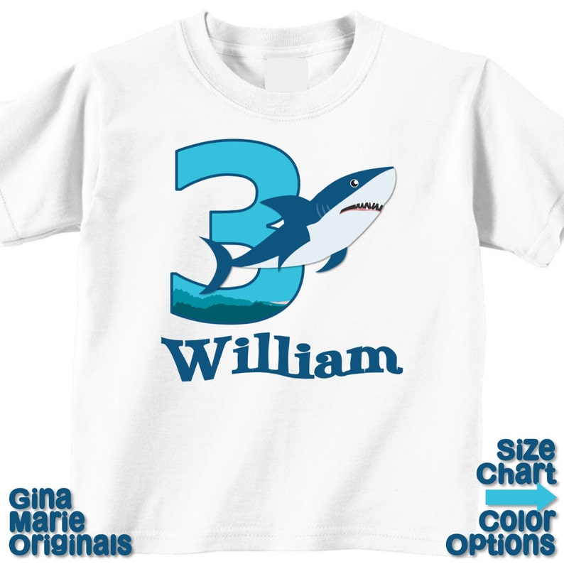 068e0beeb Tiburón personalizado cumpleaños camiseta o Body tiburón bebé