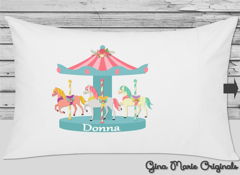Personalized Pillow Case Pillowcase, Merry Go Round Baby Bedding