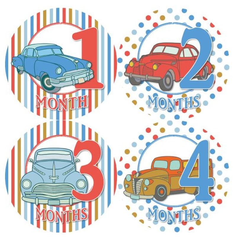 Baby Monthly Milestone Growth Stickers Antique Vintage Old Cars Trucks Theme MS843 Baby Boy Shower Gift Baby Boy Photo Prop