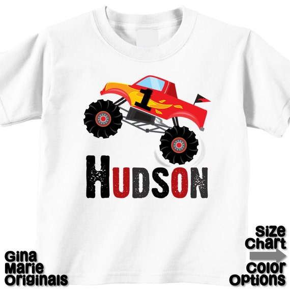 e76d0b443 Personalized Birthday Boy Monster Truck Birthday Party Shirt | Etsy