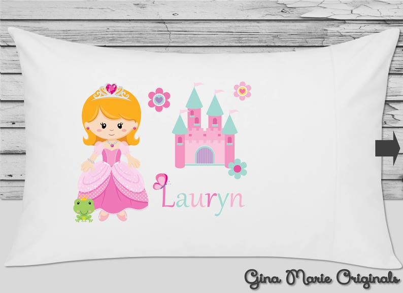Personalized Pillow Case Pillowcase Princess Castle Frog Pink Girl Blonde Kids Birthday Christmas Gift Bedding Choice of Hair Ethnicity