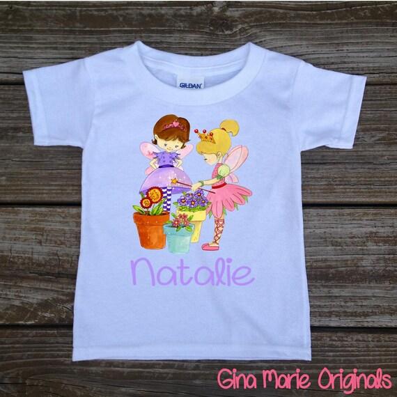 Jardín de primavera de hadas personalizado bebé camiseta niña  623578dff17