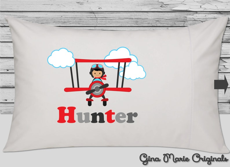 Personalized Pillow Case Pillowcase Flying Pilot Ace Airplanes Planes Bi-planes Boy Toddler Kids Birthday Christmas Gift Bedding