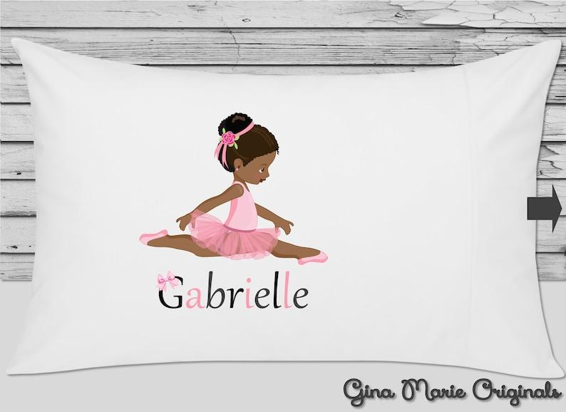 Personalized Pillow Case Pillowcase Ballerina Ballet Pink Blonde Brunette Red Hair African American Toddler Children Birthday Christmas Gift