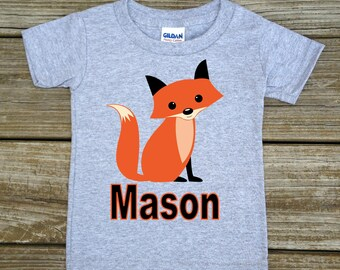 Personalized Fox T-Shirt - Fox Baby Bodysuit - Choice of White, Grey, Blue, or Pink