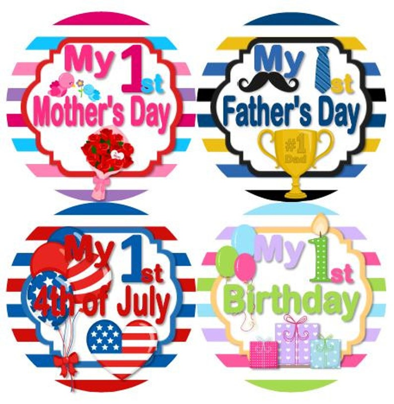 Patricks Easter 4th Baby My 1st First HOLIDAY Stickers First Year Holidays Stickers MS820 Halloween Thanksgiving Christmas New Years St
