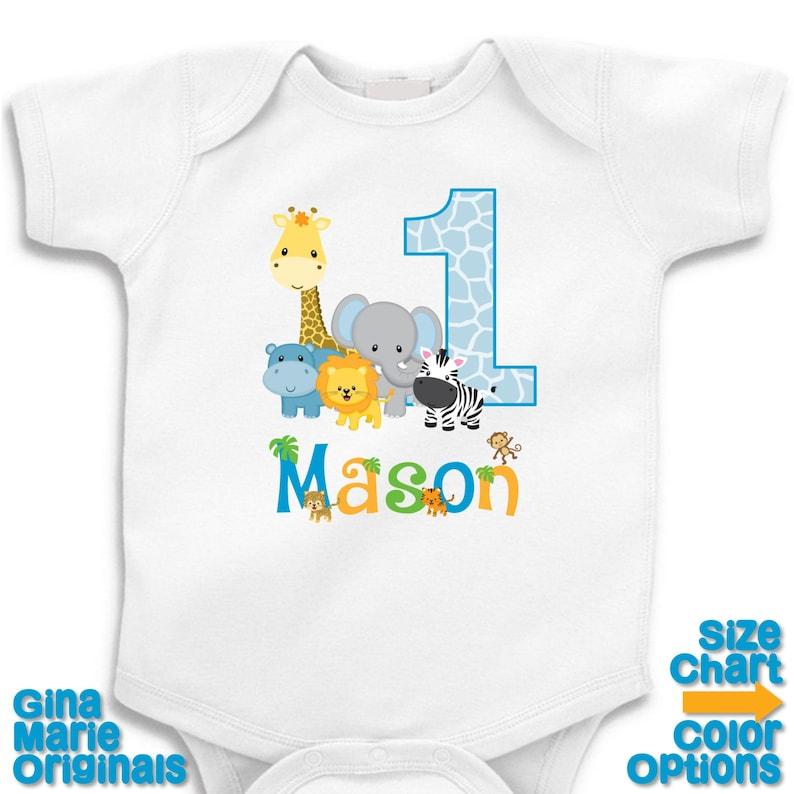 Personalizada cumpleaños selva Safari cumpleaños fiesta camisa  122541ba03013
