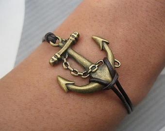 Both retail and wholesale antique bronze retro style anchor bracelet