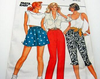 Pattern-Butterick 3239 Misses' Shorts and Capri's    Size 6 -10 1985 Vintage