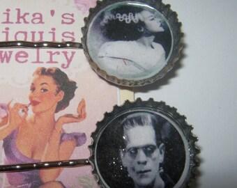 Frankenstein and his Bride Bottle Cap Hair Pins