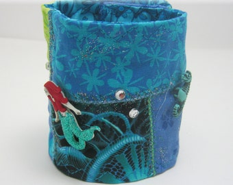 Mermaid/ Green/ Blue/ Fabric Bracelet/ Patchwork Cuff/Gypsy Cuff