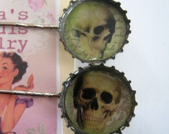 Skulls Bottle Cap Hair Pins