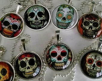 Sugar Skull Glass Pendant Necklace-Day of the Dead-You Choose Your Necklace