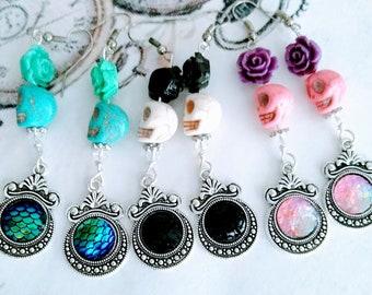 Mermaid Sugar Skulls Earrings, Day of the Dead Jewelry-Pink, White or Blue