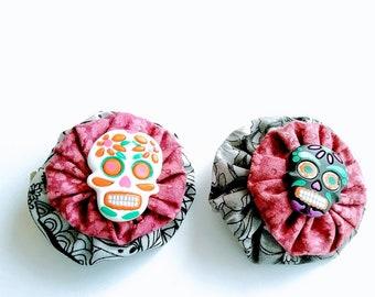 Sugar Skulls Hair Clip, Gothic Barrette, Fabric Flower Barrettes, Hair Clips, Hair Barrettes-Gift