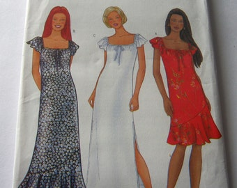 Butterick 6588 Pattern Misses' Cute Short Ruffle Sleeved Dress Boho Chic Long Dress Summer Casual Dress Size 6-10  2000 Sewing Pattern