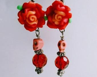 Sugar Skull Earrings, Day of the Dead Jewelry, Gothic Earrings