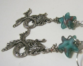 Mermaid/ Blue Glass/Star/Wire Wrapped  Earrings/ HandMade Ear wires