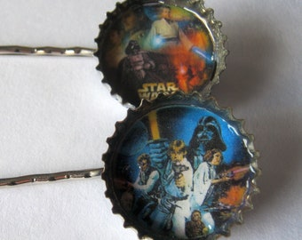 Star Wars/ Bottle Cap/ Bobby Pins/Hair Pins/Luke Skywalker/ Darth Vader/ Princess Leia/ Han Solo/ Obi Wan Kenobi