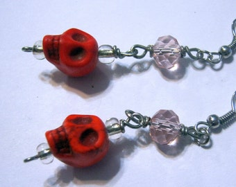 Day of the Dead/Red/Skull/Glass/ Gothic Punk Earrings