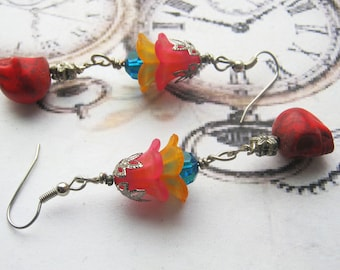 Flower Sugar Skulls- Day of the Dead- Colorful Rainbow Gothic Punk Earrings Skull Earrings-Gift