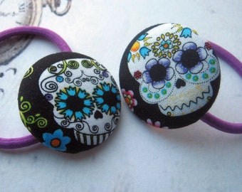 Sugar Skulls Day of the Dead Gothic Fabric Button Abby Sciuto Hair Elastic Hair Ties
