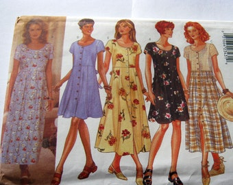 Butterick 4440 Sewing  Pattern Misses' Dress Bohemian Summer Dress Casual Dress  Boho Chic Size Xs-M  Vintage 1996