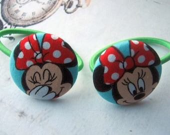 Minnie Mouse Cute Mouse Girly  38mm or 1.5 inches Fabric Button Nerd Hair Elastic Hair Ties