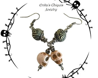 Skulls Black & White  Gothic Punk Earrings-Gift