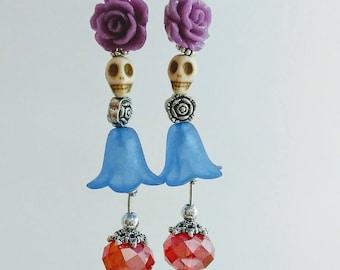 Blue Flower Sugar Skulls Earrings, Day of the Dead Jewelry