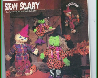 Simplicity Pattern 7418 Witch & Scarecrow Dolls in Two sizes Vintage 1991