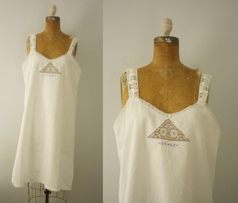 cdd38994c45 1930s cotton nightgown vintage 30s lingerie