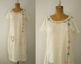 1920s dress | vintage 20s embroidered folk day dress