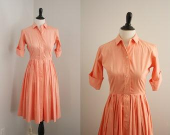 1950s shirtwaist dress   vintage 50s peach day dress   Peach Calfoutis Dress
