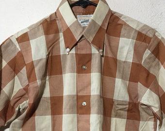 Vtg BURTON LTD 16-35 White Tattersall Sea Island Cotton Broadcloth Shirt