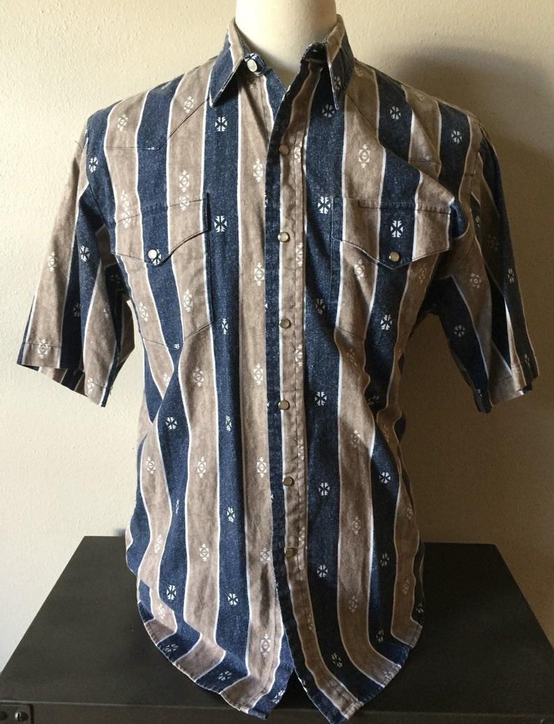 20904c41185dd Vintage Western Shirt 1980s Pearl Snap 80s Aztec Cowboy Short