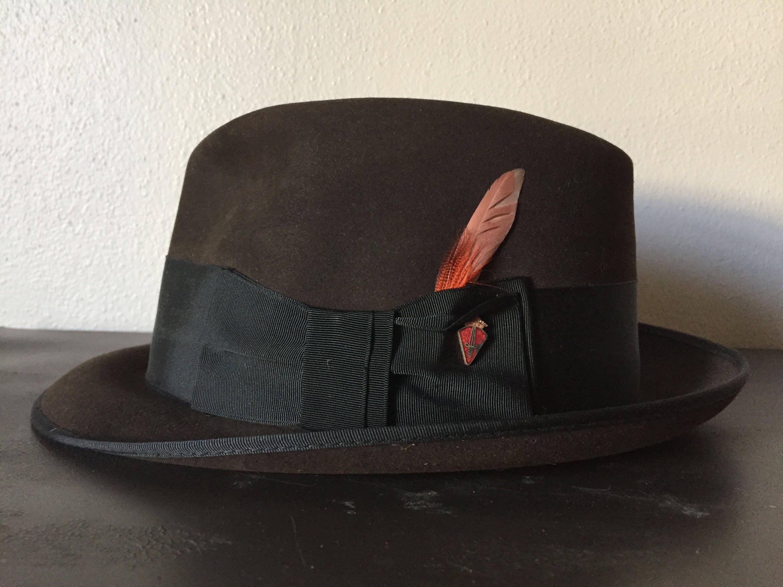 18a8bdb70a62a4 True Vintage Mens Hat Chocolate Brown Fur Felt Fedora 1950s JC   Etsy
