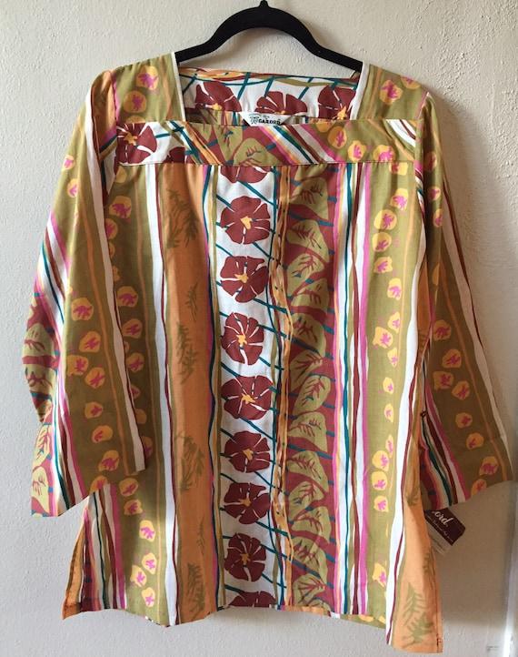 1970s mod blouse shirt top, tunic, Hawaiian Print
