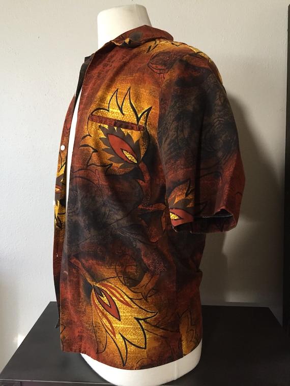 1960s Mans Hawaiian Shirt JC Penneys Mod Cotton Bo