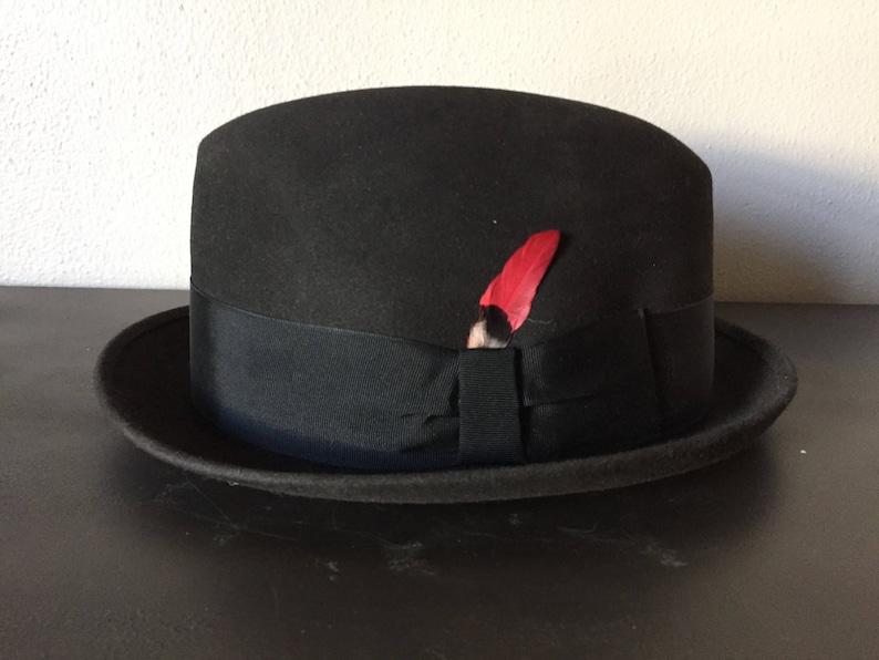 b4f8b69a940ad6 50s True Vintage Mens Fedora Hats Black Felt 1950s Woodcrest   Etsy