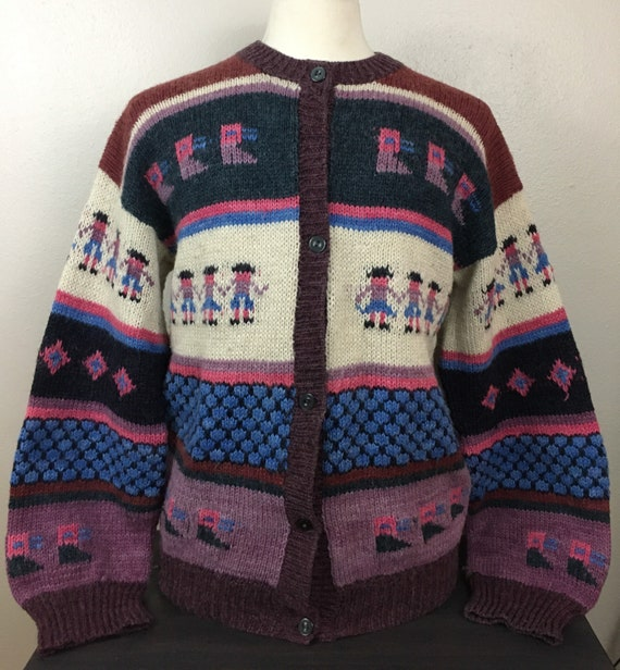 Vintage 1940s Cardigan Sweater Cowichan Ski Wool P