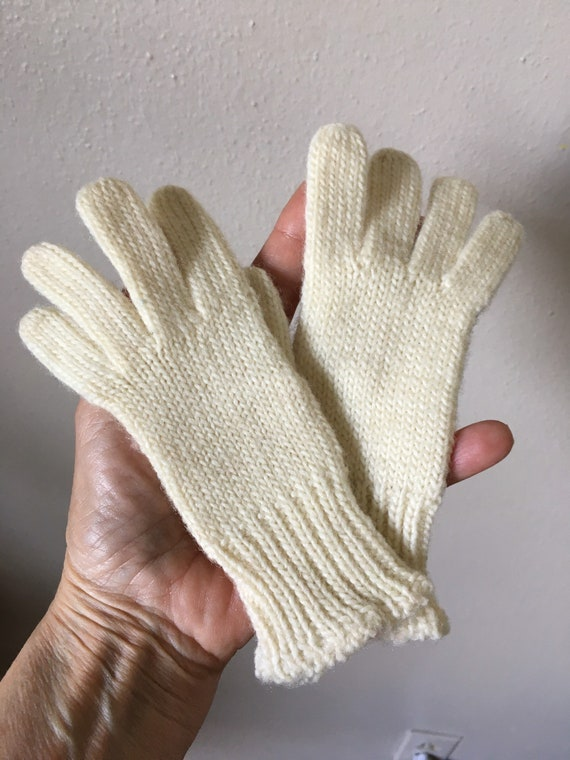 Vintage 40s 50s Wool Gloves Kids Hand Knit Winter