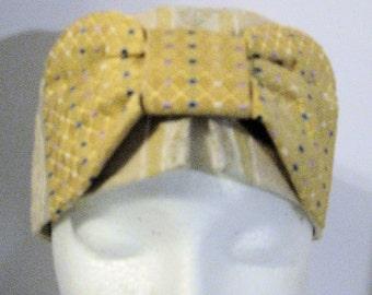 Handmade yellow and creme cotton kufi